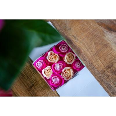 Deco Geur Rozen 9st. in een kartonnen geschenkdoosje ( diverse kleuren)