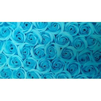Decoratie Geur Roosjes 9st. in kartonnen geschenkdoosje BABY BLAUW